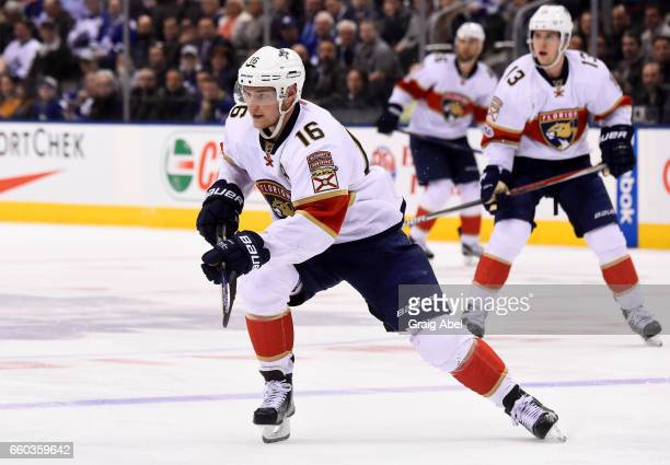 Aleksander Barkov of the Florida Panthers skates against the Toronto Maple Leafs during the second period at the Air Canada Centre on March 28 2017...