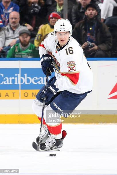 Aleksander Barkov of the Florida Panthers skates with the puck against the New York Rangers at Madison Square Garden on March 17 2017 in New York...