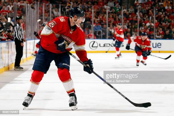 Aleksander Barkov of the Florida Panthers skates with the puck against the Chicago Blackhawks at the BBT Center on March 25 2017 in Sunrise Florida