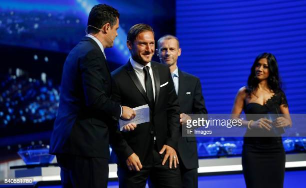Aleksander Ceferin and Francesco Totti looks on during the UEFA Champions League Group stage draw ceremony at the Grimaldi Forum Monte Carlo in...
