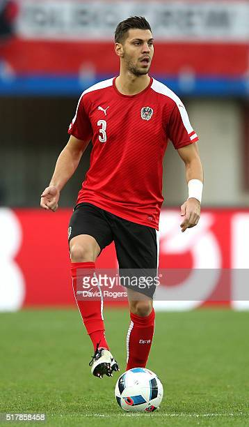 Aleksander Dragovic of Austria runs with the ball during the international friendly match between Austria and Albania at the Ernst Happel Stadium on...