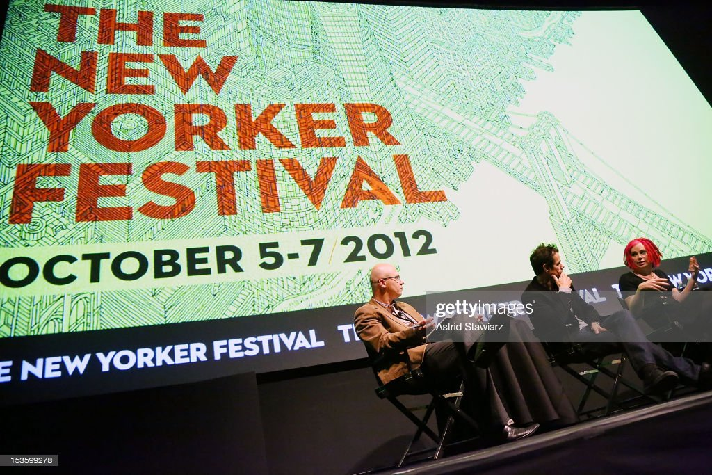 Aleksander Hemon and Directors Tom Tykwer and Lana Wachowski speak at a panel discussion following the 'Cloud Atlas' US premiere at The New Yorker...