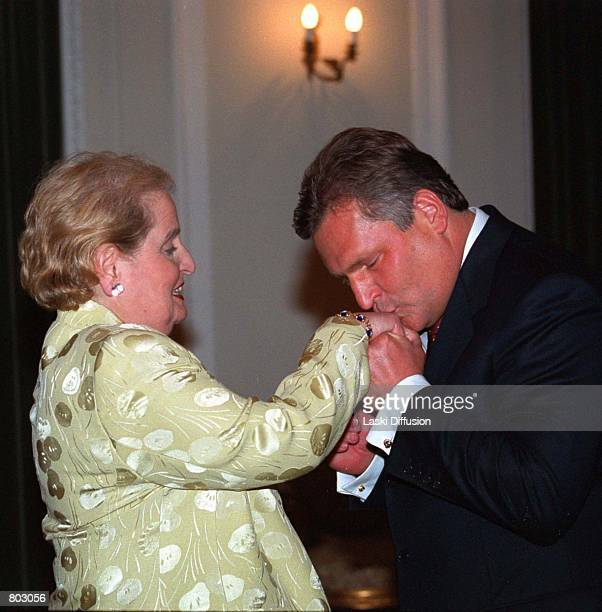 Aleksander Kwasniewski President of the Republic of Poland kisses the hand of US Secratary of State Madeleine Albright during the 'Towards A...