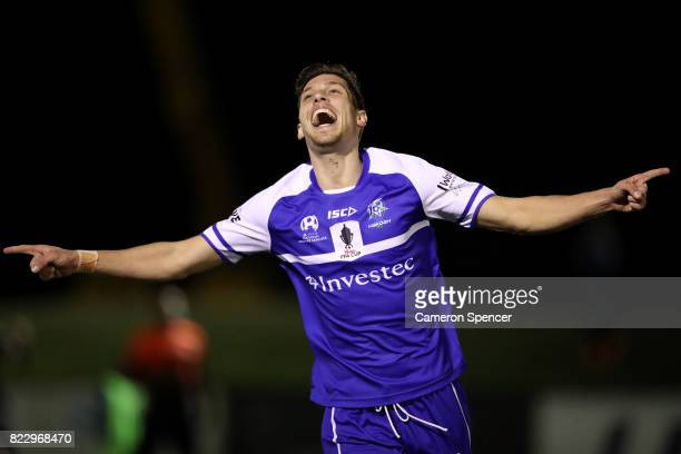 Aleksander Lekoski of Hakoah FC celebrates kicking a goal during the FFA Cup round of 32 match between Hills United FC and Hakoah Sydney City East at...