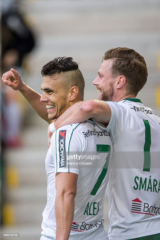 Aleksander Medieros de Aseredo of Hammarby IF celebrates after scoring 3-0 together with Arnor Smarason of Hammarby IF during the Allsvenskan match between Hammarby IF and Gefle IF at Tele2 Arena on May 29, 2016 in Stockholm, Sweden.