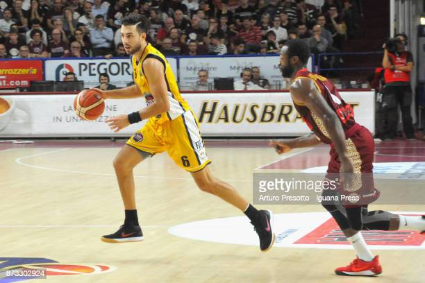 Aleksander Vujacic of Fiat competes with Dominique Johnson of Umana during the LBA LegaBasket of Serie A match between Reyer Umana Venezia and...