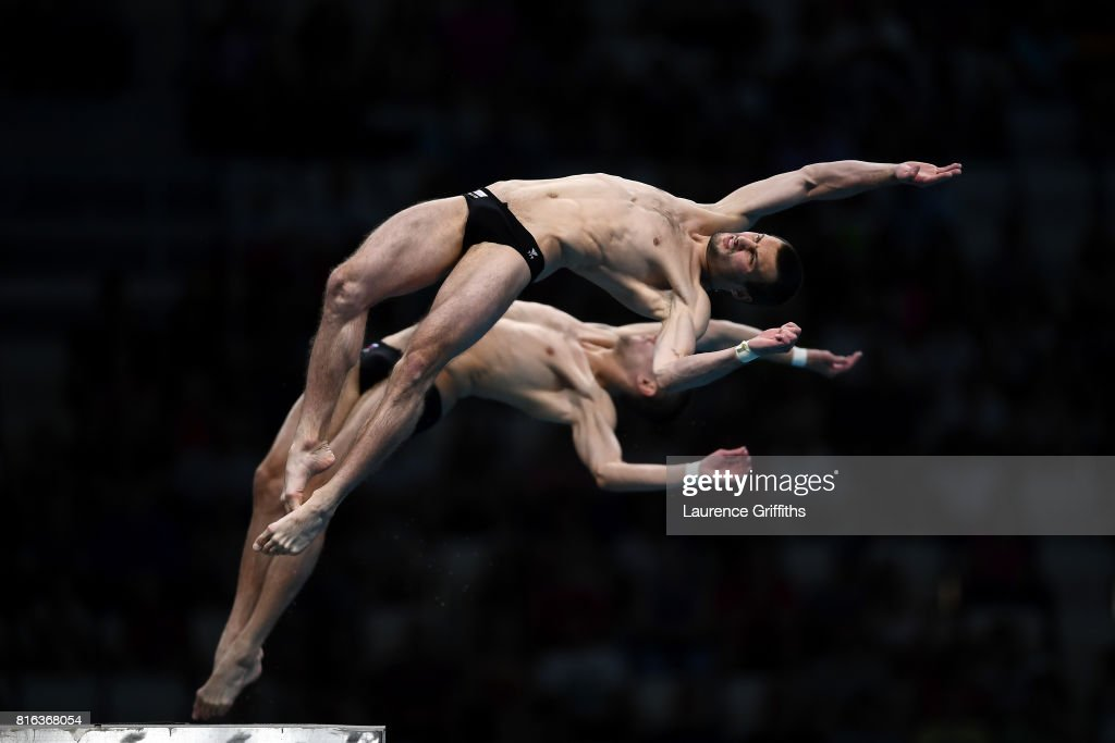 Aleksandr Bondar and Viktor Minibaev of Russia compete during the Men's Diving 10M Synchro Plaform final on day four of the Budapest 2017 FINA World Championships on July 17, 2017 in Budapest, Hungary.