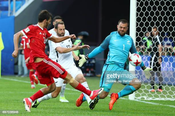Aleksandr Erokhin of Russia and Stefan Marinovic of New Zealand during the Group A FIFA Confederations Cup Russia 2017 match between Russia and New...