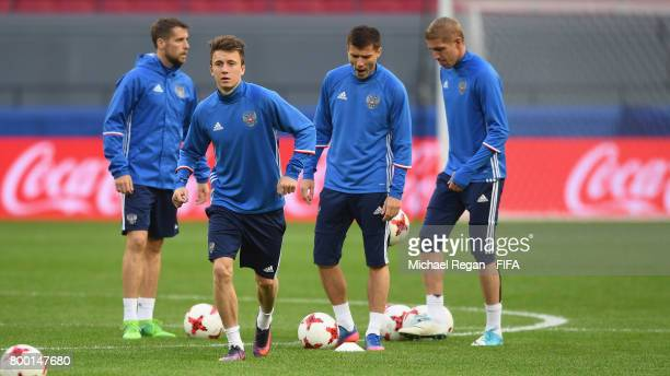 Aleksandr Golovin in action during the Russia training session at Kazan Arena on June 23 2017 in Kazan Russia