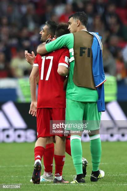 Aleksandr Golovin of Russia and Vladimir Gabulov look dejected during the FIFA Confederations Cup Russia 2017 Group A match between Mexico and Russia...
