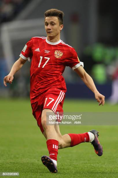 Aleksandr Golovin of Russia in action during the FIFA Confederations Cup Russia 2017 Group A match between Mexico and Russia at Kazan Arena on June...