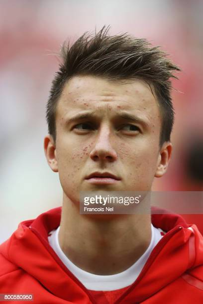 Aleksandr Golovin of Russia lines up prior to the FIFA Confederations Cup Russia 2017 Group A match between Mexico and Russia at Kazan Arena on June...