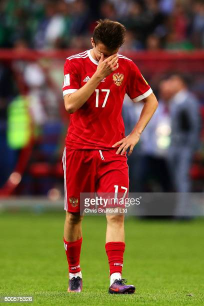 Aleksandr Golovin of Russia looks dejected at fulltime following the FIFA Confederations Cup Russia 2017 Group A match between Mexico and Russia at...