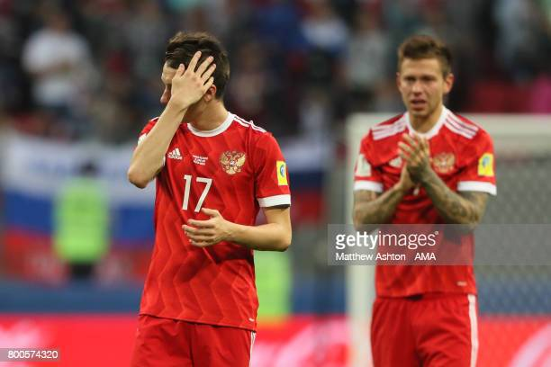 Aleksandr Golovin of Russia looks dejected at the end of the FIFA Confederations Cup Russia 2017 Group A match between Mexico and Russia at Kazan...