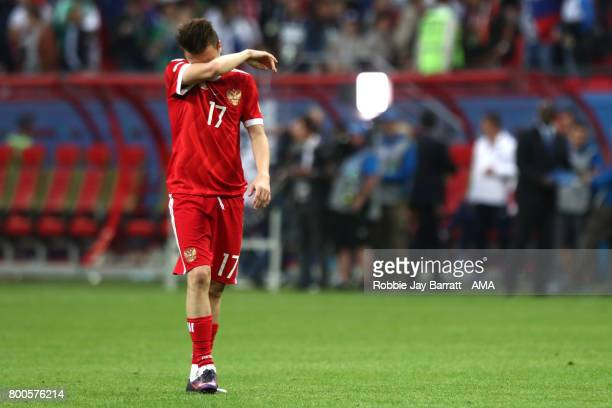 Aleksandr Golovin of Russia looks dejected during the FIFA Confederations Cup Russia 2017 Group A match between Mexico and Russia at Kazan Arena on...