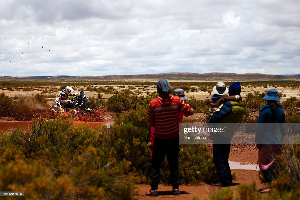 Aleksandr Ivaniutin of Russia and HT Husqvarna Rally rides a FR450 Rally Husqvarna bike in the Classe 2.1 : Super Production during stage seven of the 2017 Dakar Rally between La Paz and Uyuni on January 9, 2017 at an unspecified location in Bolivia.