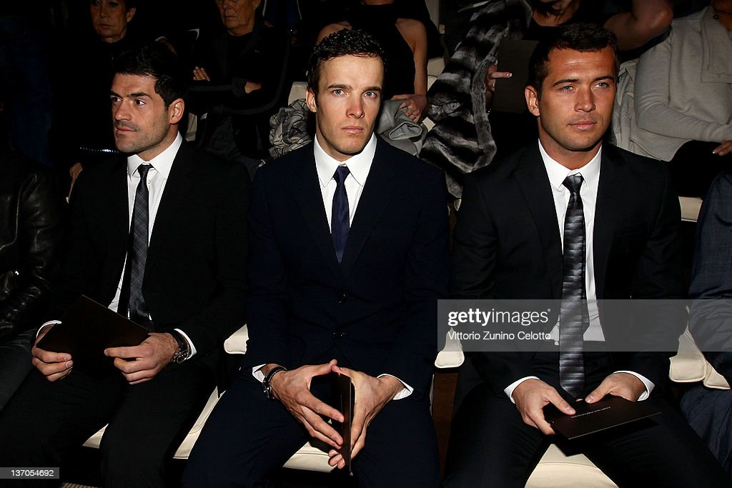 Aleksandr Kerzhakov, Christof Innerhofer and Andrea Masi attend the Emporio Armani fashion show as part of Milan Fashion Week Menswear Autumn/Winter 2012 on January 15, 2012 in Milan, Italy.