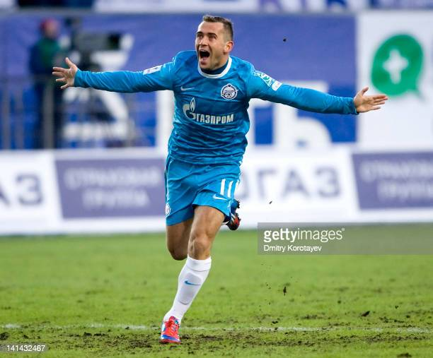 Aleksandr Kerzhakov of FC Zenit St Petersburg celebrates after scoring a goal during the Russian Football League Championship match between FC Dynamo...