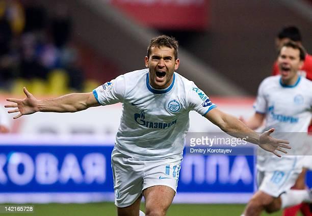 Aleksandr Kerzhakov of FC Zenit St Petersburg celebrates after scoring a goal during the Russian Football League Championship match between FC...