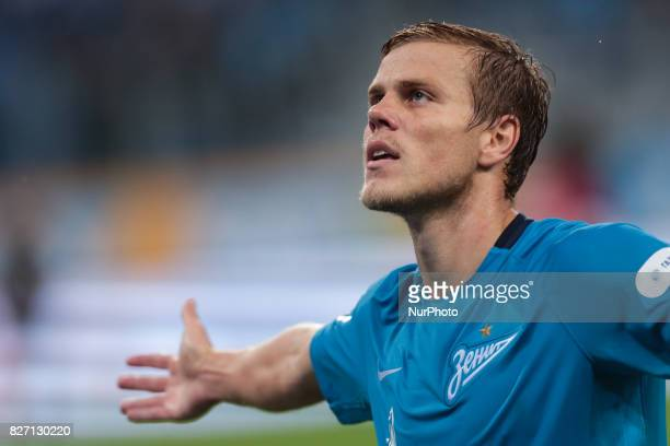 Aleksandr Kokorin of FC Zenit Saint Petersburg celebrates his goal during the Russian Football League match between FC Zenit St Petersburg and FC...