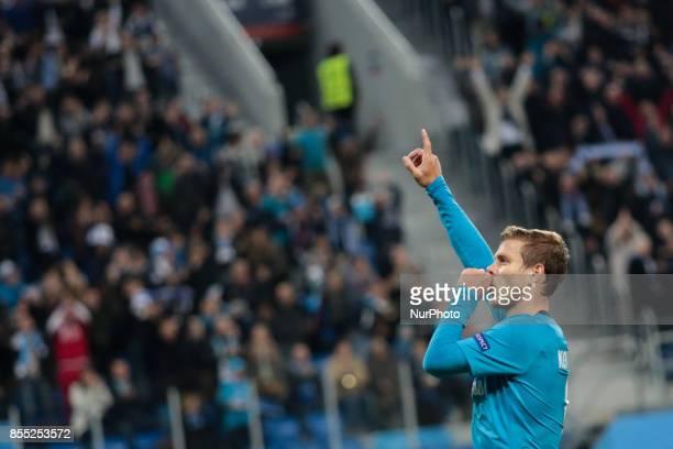 Aleksandr Kokorin of FC Zenit Saint Petersburg celebrates his goal during the UEFA Europa League Group L football match between FC Zenit Saint...