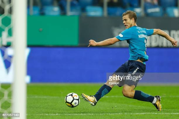 Aleksandr Kokorin of FC Zenit Saint Petersburg scores a goal during the Russian Football League match between FC Zenit St Petersburg and FC Spartak...