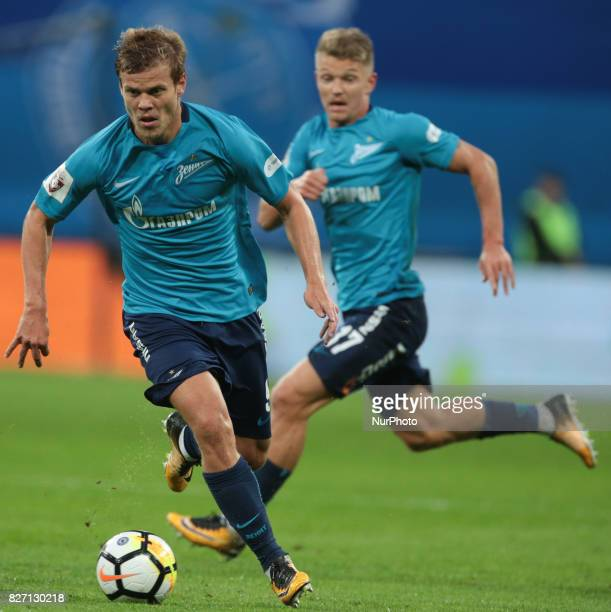 Aleksandr Kokorin of FC Zenit Saint Petersburg vie for the ball during the Russian Football League match between FC Zenit St Petersburg and FC...