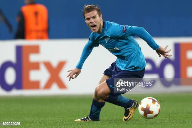 Aleksandr Kokorin of FC Zenit Saint Petersburg vie for the ball during the UEFA Europa League Group L football match between FC Zenit Saint...