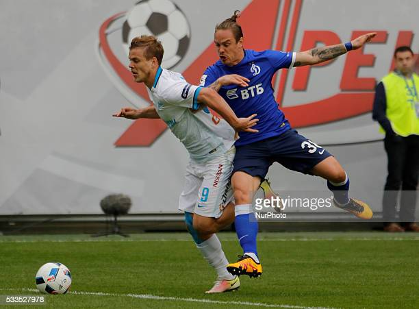 Aleksandr Kokorin of FC Zenit St Petersburg and Andrey Yeshchenko of FC Dynamo Moscow vie for the ball during the Russian Football Premier League...
