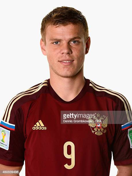 Aleksandr Kokorin of Russia poses during the Official FIFA World Cup 2014 portrait session on June 9 2014 in Sao Paulo Brazil