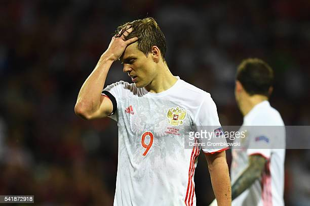 Aleksandr Kokorin of Russia reacts during the UEFA EURO 2016 Group B match between Russia and Wales at Stadium Municipal on June 20 2016 in Toulouse...