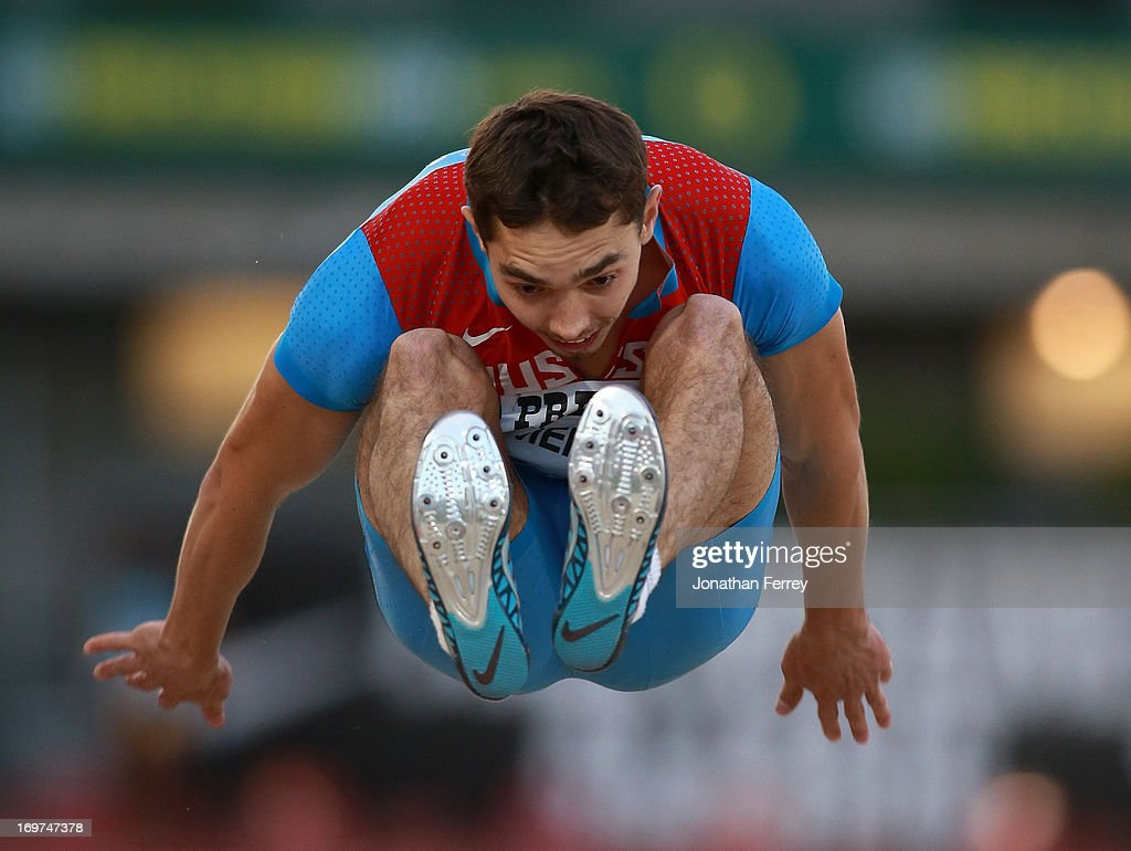 <a gi-track='captionPersonalityLinkClicked' href=/galleries/search?phrase=Aleksandr+Menkov&family=editorial&specificpeople=7881540 ng-click='$event.stopPropagation()'>Aleksandr Menkov</a> of Russia competes in the long jump during day 1 of the IAAF Diamond League Prefontaine Classic on May 31, 2013 at the Hayward Field in Eugene, Oregon.
