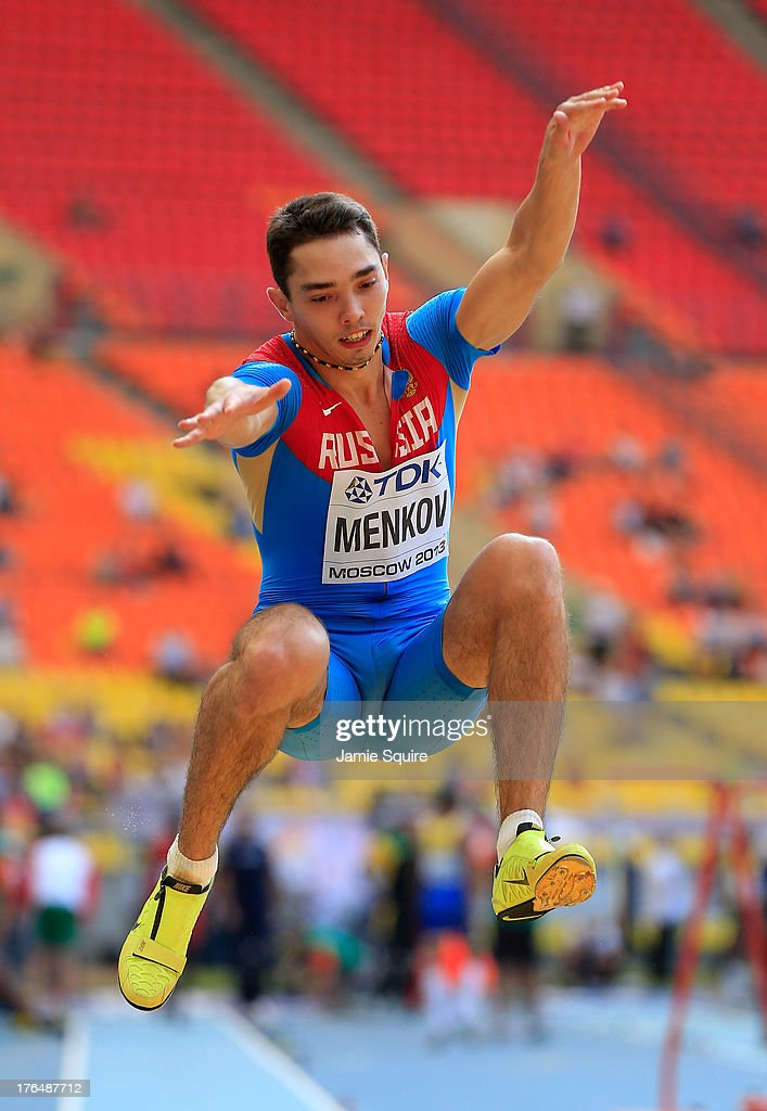 <a gi-track='captionPersonalityLinkClicked' href=/galleries/search?phrase=Aleksandr+Menkov&family=editorial&specificpeople=7881540 ng-click='$event.stopPropagation()'>Aleksandr Menkov</a> of Russia competes in the Men's Long Jump qualification during Day Five of the 14th IAAF World Athletics Championships Moscow 2013 at Luzhniki Stadium on August 14, 2013 in Moscow, Russia.