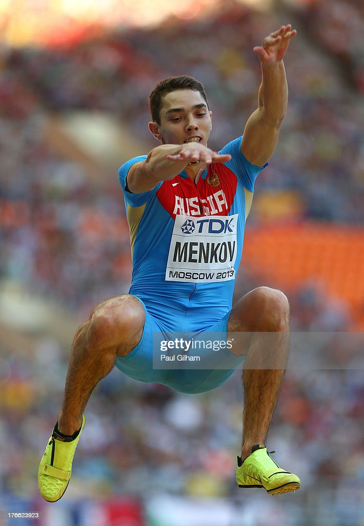 <a gi-track='captionPersonalityLinkClicked' href=/galleries/search?phrase=Aleksandr+Menkov&family=editorial&specificpeople=7881540 ng-click='$event.stopPropagation()'>Aleksandr Menkov</a> of Russia competes in the Men's long Jump qualification during Day Seven of the 14th IAAF World Athletics Championships Moscow 2013 at Luzhniki Stadium at Luzhniki Stadium on August 16, 2013 in Moscow, Russia.
