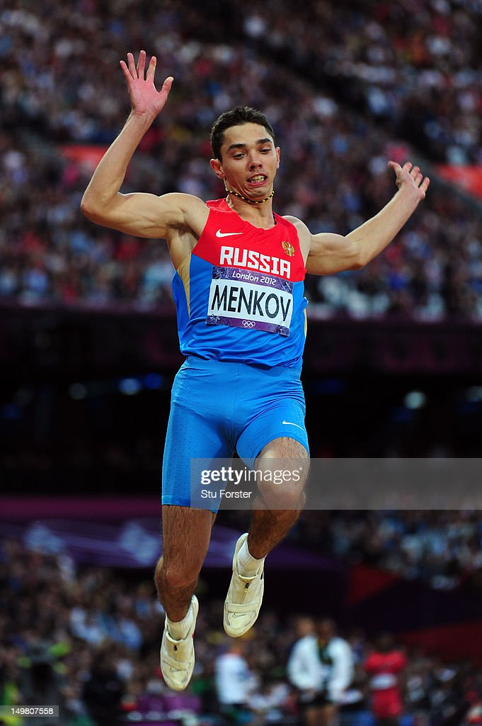 <a gi-track='captionPersonalityLinkClicked' href=/galleries/search?phrase=Aleksandr+Menkov&family=editorial&specificpeople=7881540 ng-click='$event.stopPropagation()'>Aleksandr Menkov</a> of Russia competes in the Men's Long Jump Final on Day 8 of the London 2012 Olympic Games at Olympic Stadium on August 4, 2012 in London, England.