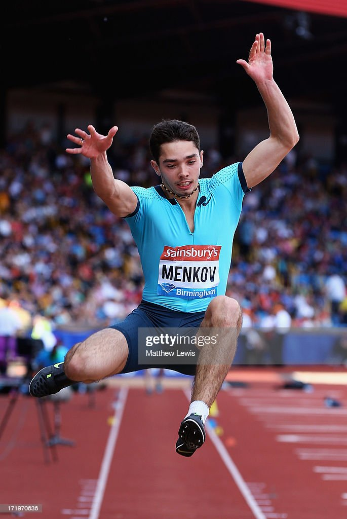<a gi-track='captionPersonalityLinkClicked' href=/galleries/search?phrase=Aleksandr+Menkov&family=editorial&specificpeople=7881540 ng-click='$event.stopPropagation()'>Aleksandr Menkov</a> of Russia in action during the Mens Long Jump during the Sainsbury's Grand Prix Birmingham IAAF Diamond League at Alexander Stadium on June 30, 2013 in Birmingham, England.