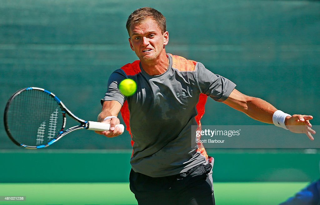 <a gi-track='captionPersonalityLinkClicked' href=/galleries/search?phrase=Aleksandr+Nedovyesov&family=editorial&specificpeople=12336565 ng-click='$event.stopPropagation()'>Aleksandr Nedovyesov</a> of Kazakhstan plays a forehand in his singles match against Nick Kyrgios of Australia during day one of the Davis Cup World Group quarterfinal tie between Australia and Kazakhstan at Marrara Sporting Complex on July 17, 2015 in Darwin, Australia.