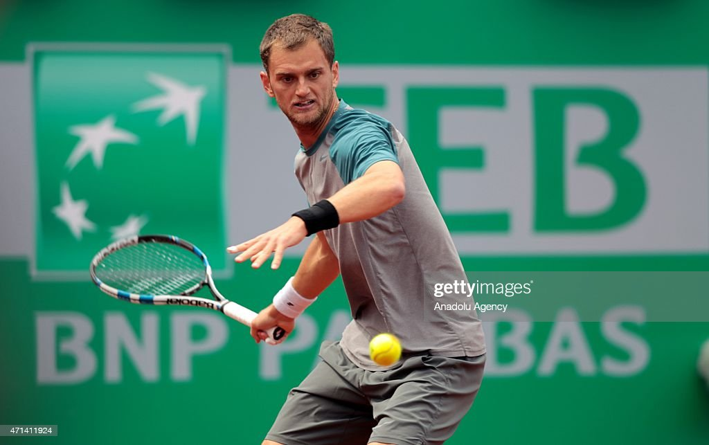 <a gi-track='captionPersonalityLinkClicked' href=/galleries/search?phrase=Aleksandr+Nedovyesov&family=editorial&specificpeople=12336565 ng-click='$event.stopPropagation()'>Aleksandr Nedovyesov</a> returns the ball to Mikhail Kukushkin in their men's single match at Garanti Koza Arena during the TEB BNP Paribas Istanbul Open in Istanbul, Turkey on April 28, 2015.