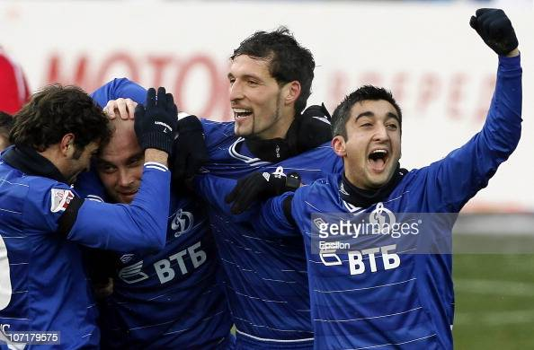 Aleksandr Samedov Kevin Kuranyi Dmitry Khokhlov and Adrian Ropotan of FC Dynamo Moscow celebrate after scoring a goal during the Russian Football...
