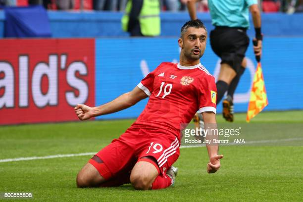 Aleksandr Samedov of Russia celebrates scoring a goal to make the score 01 during the FIFA Confederations Cup Russia 2017 Group A match between...