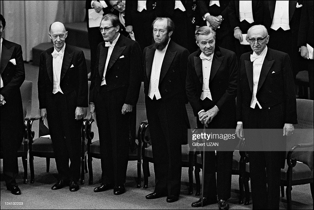 Aleksandr Solzhenitsyn files pictures in Stockholm Sweden on December 10 1974 Exiled russian author Aleksandr Solzhenitsyn invited to a banquet...