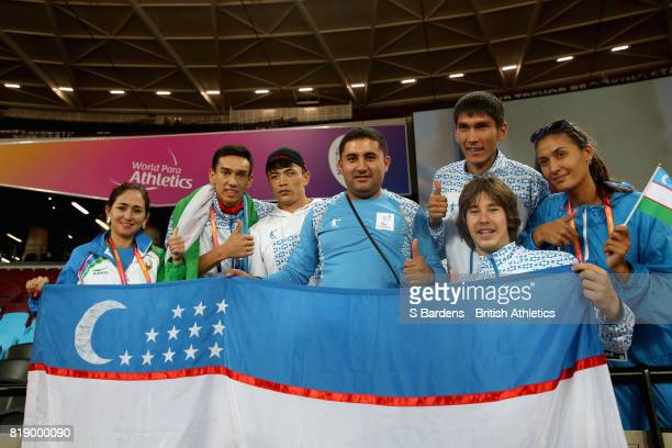 Aleksandr Svechnikov of Uzbekistan celebrates winning the gold medal in the Men's Javelin Throw F13 Final with his fans during Day Six of the IPC...