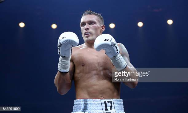 Aleksandr Usyk of Ukraine during the WBO Cruiserweight World Boxing Super Series fight against Marco Huck of Germany at Max Schmeling Halle on...