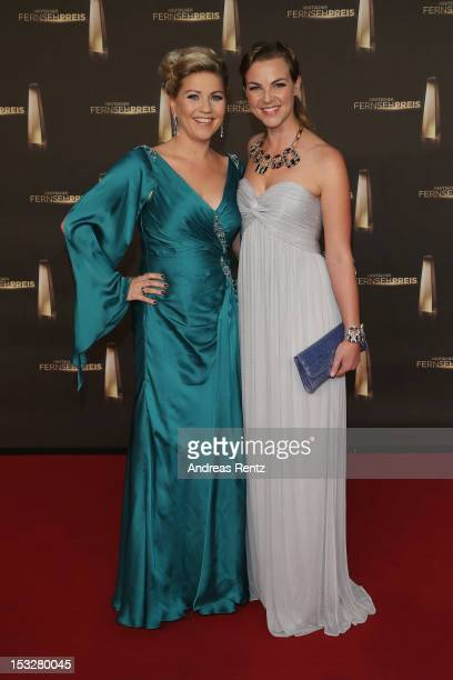 Aleksandra Bechtel and Annika Kipp arrive for the German TV Award 2012 at Coloneum on October 2 2012 in Cologne Germany