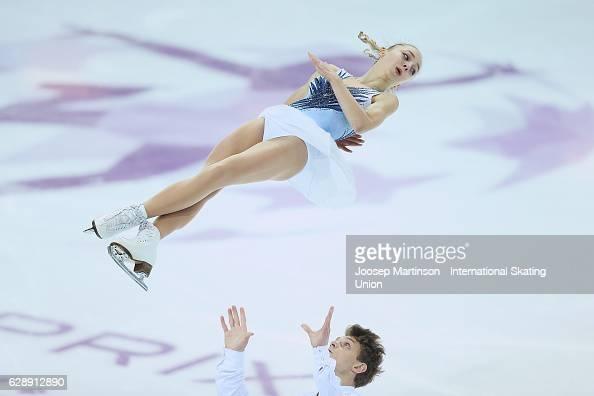 Aleksandra Boikova and Dmitrii Kozlovskii of Russia compete during Junior Pairs Free Skating on day three of the ISU Junior and Senior Grand Prix of...