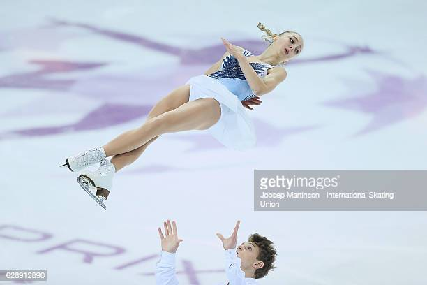 Aleksandra Boikova and Dmitrii Kozlovskii of Russia compete during Junior Pairs Free Skating on day three of the ISU Junior and Senior Grand Prix of...