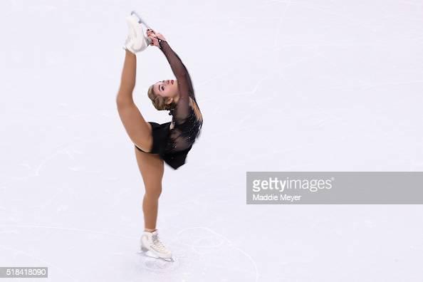 Aleksandra Golovinka of Lithuania skates in the Ladies Short Program during Day 4 of the ISU World Figure Skating Championships 2016 at TD Garden on...