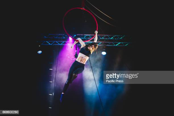 Aleksandra Kiedrowicz performing aerial hoop at the Alis Le Cirque with the World's Top Performers media day