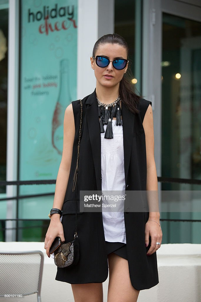 Aleksandra Sivokoneva is seen on the street in South Beach wearing an outfit by Marissa Webb Zara bag and BCBG shoes during Art Week Miami 2015 on...