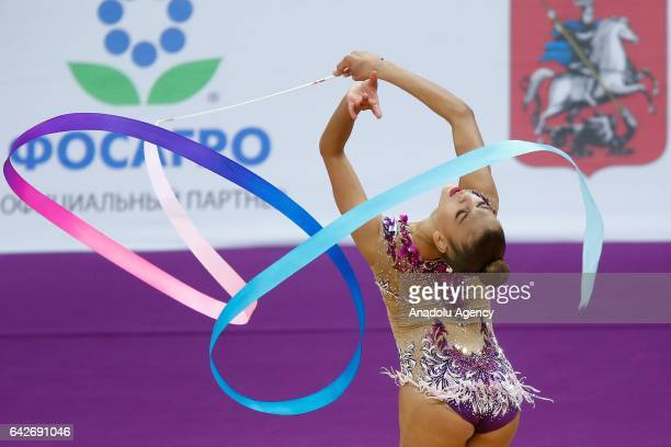 Aleksandra Soldatova of Russia performs during the International Rhythmic Gymnastics Championship at the Alina Cup Grand Prix 2017 event in Moscow...